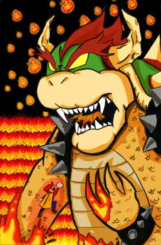 Bowser vs Mario by cammandude