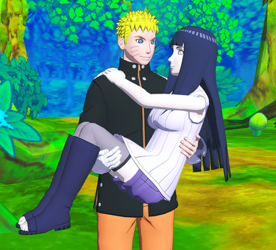 Naruto with Hinata in his arms. by SuperVegeta1986