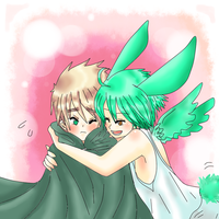 Hetalia - england and human!flying mint bunny by Mi-chan4649