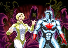 Powergirl and Captain Atom VS Durlans by adamantis
