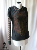 Pirate Skull Stripe Hoodie 5 by smarmy-clothes