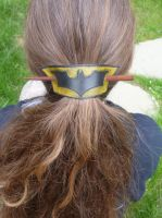 Batman Leather Hair Barrette by emma-hobbit