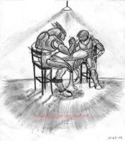 Arm wrestling sketche by MuddyTiger