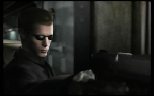 Wesker with his silence pistol by monkeygigabuster