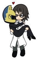 Shinra and Celty Chibis by AutoUtopian