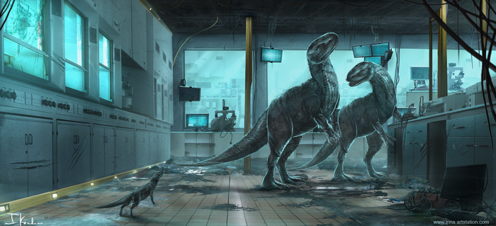 Dinosaurs in a Lab by HeliacWolf