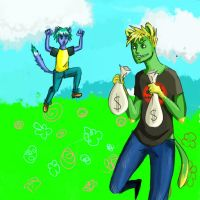 Cat fight in the meadow with flowers part 2. by gunpowderfactory