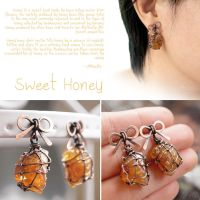 Sweet Honey Ribbon Earrings by popnicute