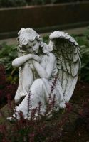 angel statue on a grave by Nexu4