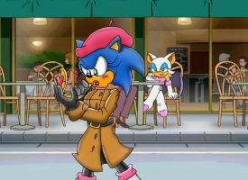 Sonic's new look, from Rouge by ClassicSonicSatAm