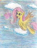 fluttershy follow a butterfly painted with crayons by shinkuma