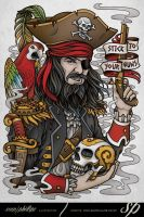 Stick To Your Guns Pirate Tee Design by Sam-Phillips-NZ