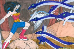 Wonder Woman versus the Hydra by Chaosbandit