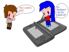 Playing my DS by ShadowFire90
