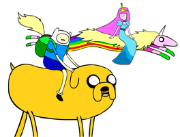Finn, Jake, Lady and BG by PandasEatingCupcakes