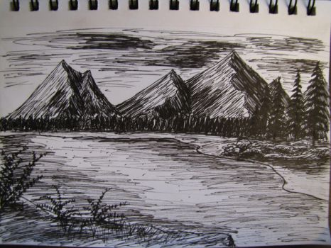 Hatched Mountain Landscape by Digg409