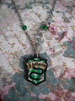 Slytherin Silver Sparkle Necklace by AriesNamarie