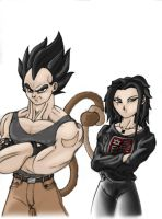 Vegeta and Dragon colored by vissroid