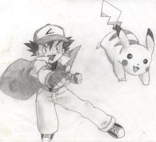 Ash and Pikachu by princesspurpleblob