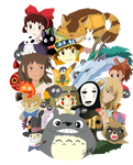 Studio Ghibli Collage Coloured by Disturbed-Leeshie