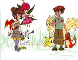 Digimon Meets Pokemon by paintingmyheartred