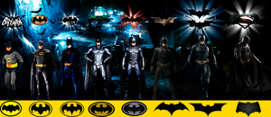 The Batmen from the movies (With chest sigil) by Alexbadass