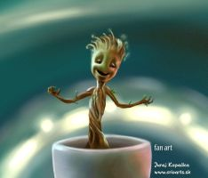Little Baby Groot Dancing - fan art by CrioArts