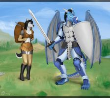 Dragon guy and husky girl by HornedStorm