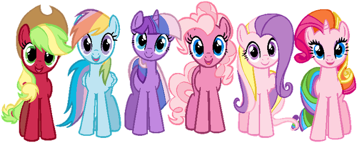 Mane 6 in G3 colors by Nutty-Nutzis