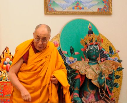 His Holiness and Green Tara by Dizzyatdizumnl