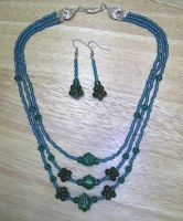 Tri Teal Necklace and Earrings by johannachambers