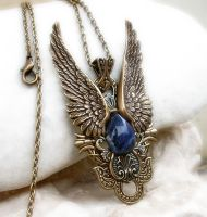 Dark Angel Pendant -Gold Blue by Aranwen