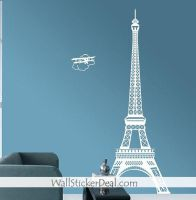 Paris Eiffel Tower with Plane Wall Sticker by amandabetty