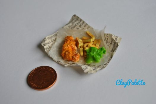Miniature Fish and Chips by ClayPalette