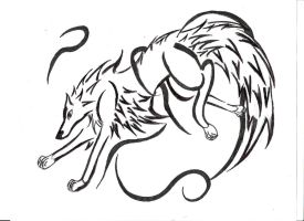 Running Wolf Tatoo by GothWolfGurl13