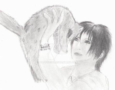 Gackt with cat by NappoUshi