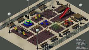 Playground - isometric art - day by rocneasta