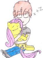 DallasCowboysRUL4Lyf and Fluttershy sleeping by FinnishGirl97