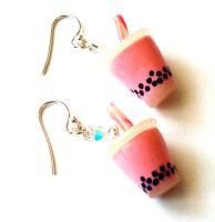 Pink Boba Tea Earrings by FatallyFeminine
