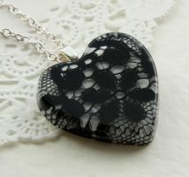 Lace heart necklace by BazaarHereToday