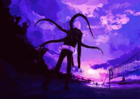 Slender on the beach 45 min. doodle by NoxEvo