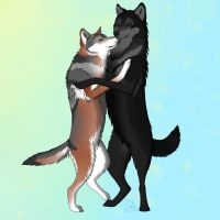 Hugging Wolves by CheezyNoodlez