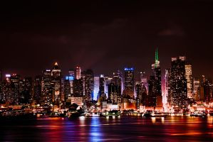 Manhattan Skyline after Dark by AugenStudios
