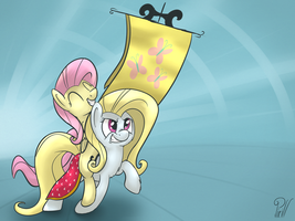 TMAC - Fluttershy and a Banner Mare. by Pirill-Poveniy