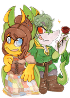 Dragonsushi Couple Comm. by CritterKat