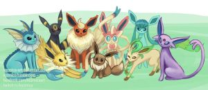 Eeveelutions (every Eevee evolution to date) by kozmica64