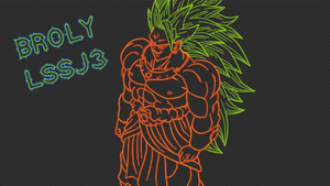 Broly LSSJ3 LineArt Neon Wallpaper by GT4tube