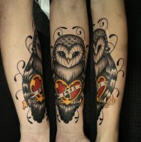 Owl tattoo heart II by FraH