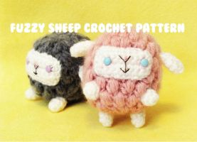 cute n kawaii fuzzy sheep - crochet  pattern PDF by hellohappycrafts