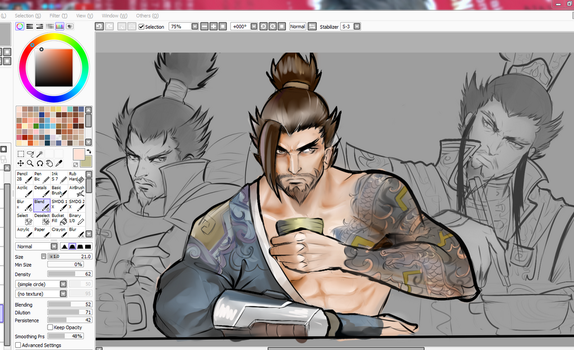 Wip Hanzo and his Doppelgangers by Tazaca